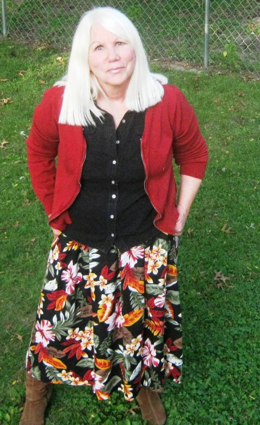 Kathy in 2014, the fashion plate enjoying the fall colors
