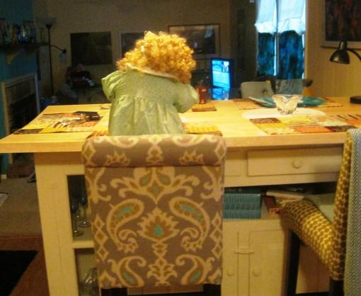 We discovered Penelope Anne had been sneaking into the kitchen and making herself sandwiches while we were away at work.